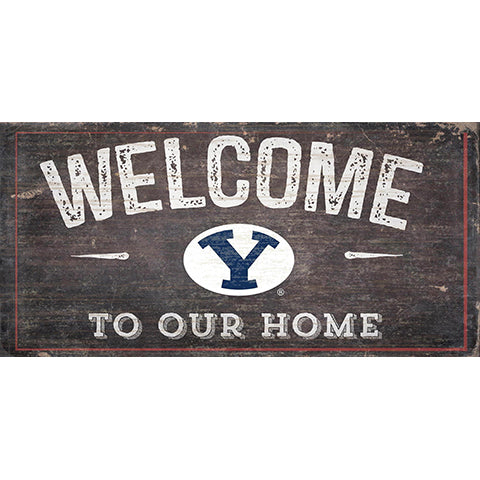 BYU Welcome Distressed 6 x 12