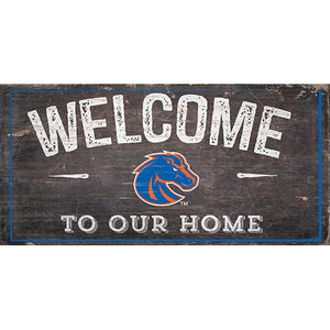 Boise State Welcome Distressed 6 x 12