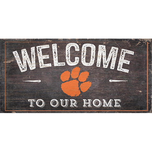 Clemson University Welcome Distressed 6 x 12