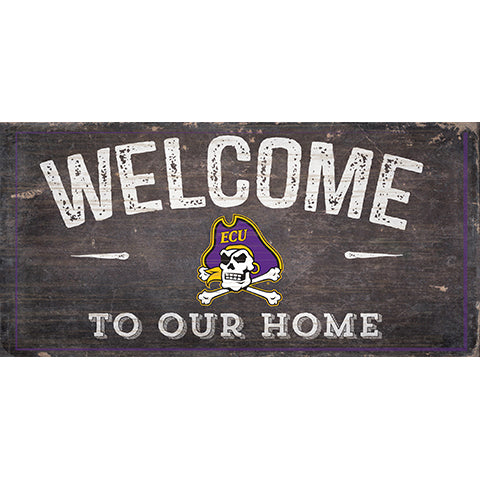 East Carolina Welcome Distressed 6 x 12