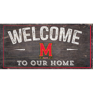 University of Maryland Welcome Distressed 6 x 12