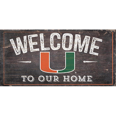University of Miami Welcome Distressed 6 x 12