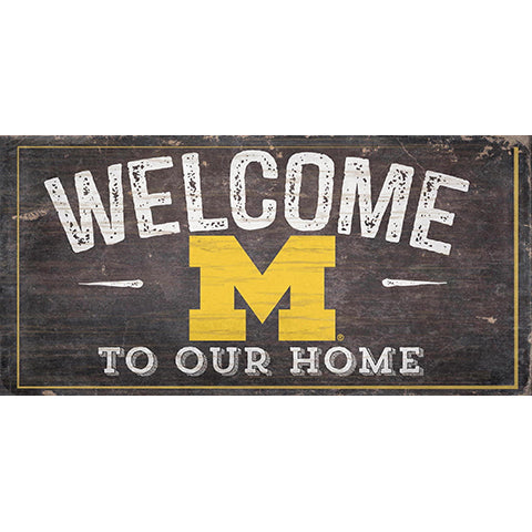 University of Michigan Welcome Distressed 6 x 12