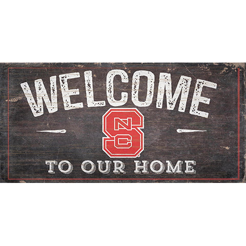 NC State Welcome Distressed 6 x 12