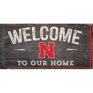University of Nebraska Welcome Distressed 6 x 12