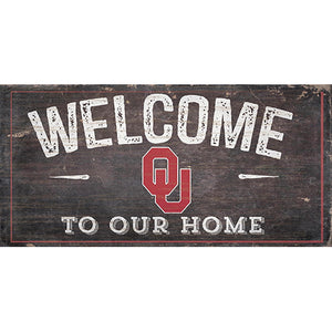 University of Oklahoma Welcome Distressed 6 x 12
