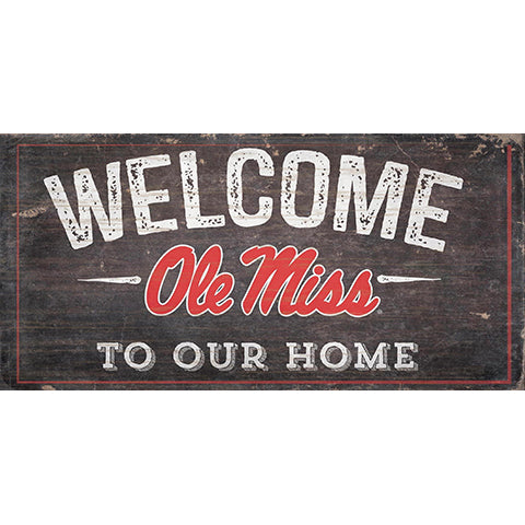 Ole Miss Welcome Distressed 6 x 12