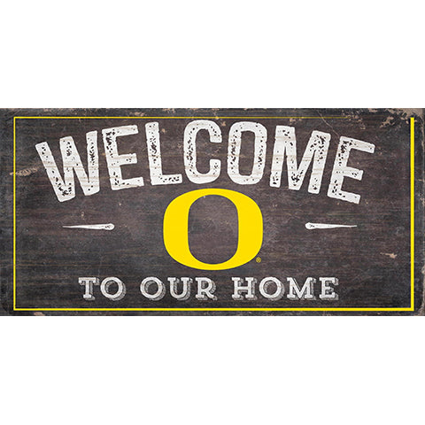 University of Oregon Welcome Distressed 6 x 12