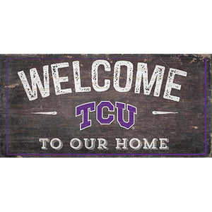 TCU Welcome Distressed 6 x 12