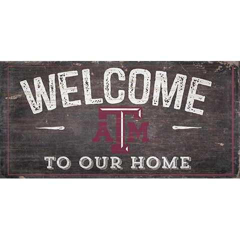 Texas A&M Welcome Distressed 6 x 12