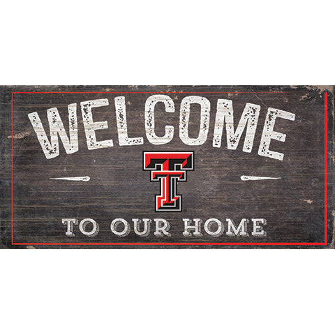 Texas Tech  University Welcome Distressed 6 x 12