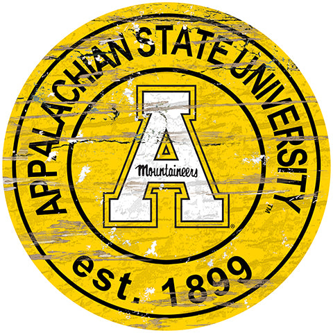 Appalachian State Distressed Round Sign