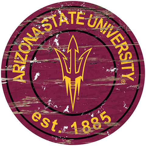 Arizona State Distressed Round Sign