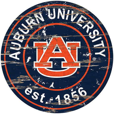 Auburn University Distressed Round Sign