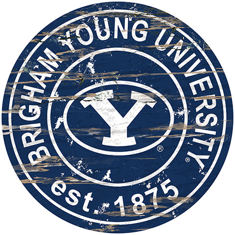 BYU Distressed Round Sign