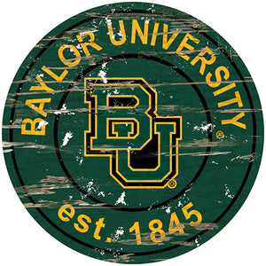 Baylor Distressed Round Sign