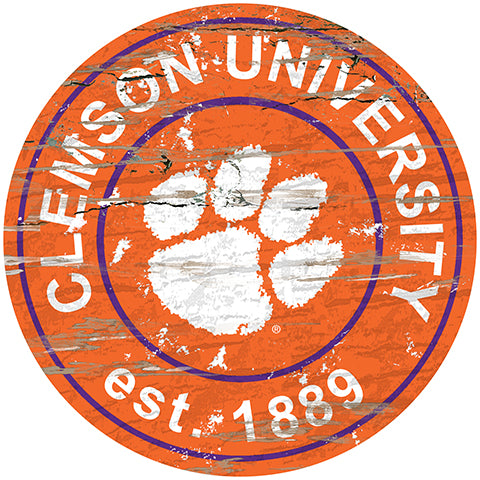 Clemson University Distressed Round Sign