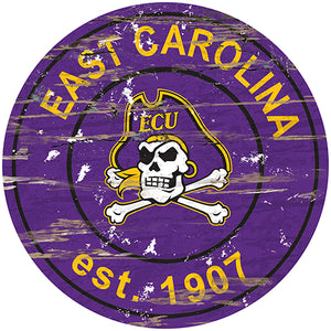 East Carolina Distressed Round Sign
