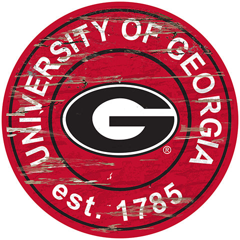 University of Georgia Distressed Round Sign