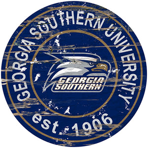 Georgia Southern Distressed Round Sign