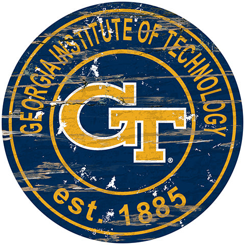 Georgia Tech Distressed Round Sign