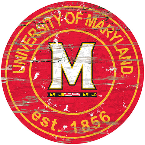 University of Maryland Distressed Round Sign