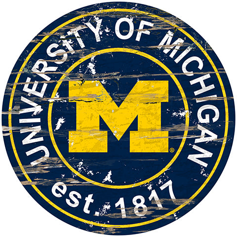 University of Michigan Distressed Round Sign