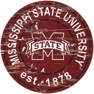Mississippi State University Distressed Round Sign