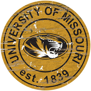 University of Missouri Distressed Round Sign