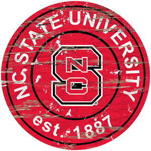 NC State University Distressed Round Sign