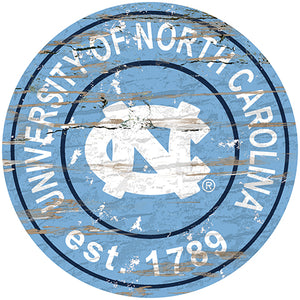 University of North Carolina Distressed Round Sign