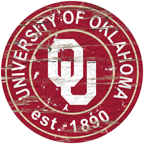 University of Oklahoma Distressed Round Sign