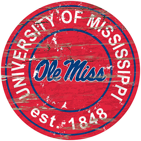 Ole Miss Distressed Round Sign