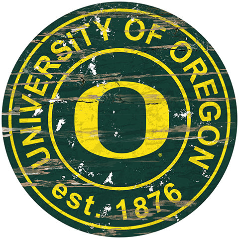 University of Oregon Distressed Round Sign