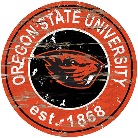 Oregon State Distressed Round Sign