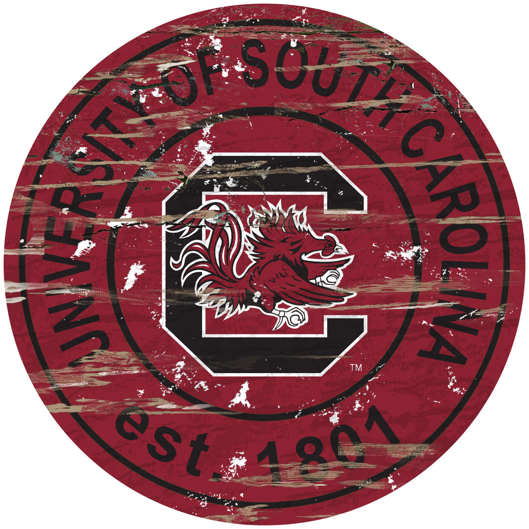 University of South Carolina Distressed Round Sign