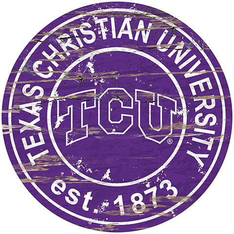 TCU Distressed Round Sign