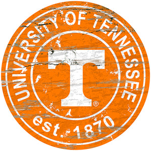 University of Tennessee Distressed Round Sign