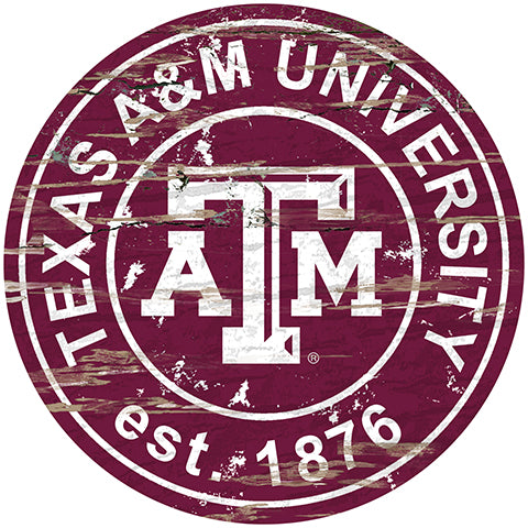 Texas A&M University Distressed Round Sign