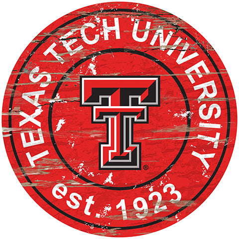 Texas Tech University Distressed Round Sign