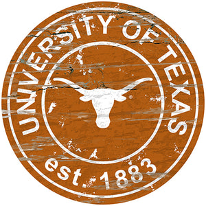 University of Texas Distressed Round Sign