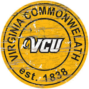 VCU Distressed Round Sign