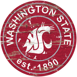 Washington State Distressed Round Sign