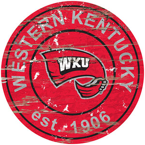 Western Kentucky Distressed Round Sign