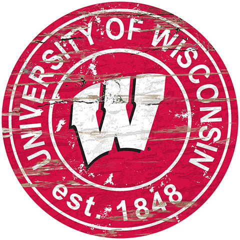 University of Wisconsin Distressed Round Sign