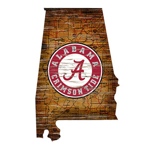 University of Alabama Distressed State with Logo
