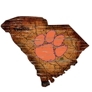Clemson University Distressed State with Logo