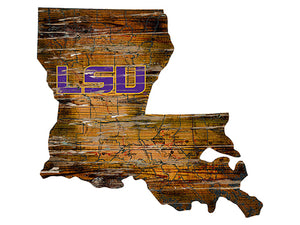 LSU Distressed State with Logo