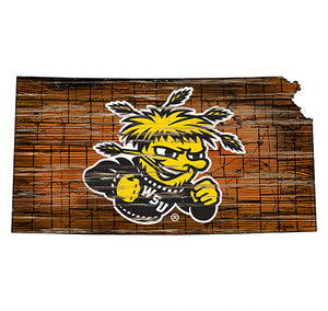 Wichita State Distressed State with Logo