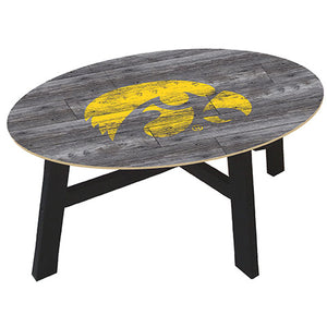 University of Iowa Distressed Wood Coffee Table